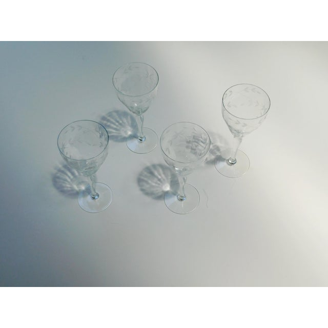 Etched Clear Wine Glasses - Set of 4 For Sale - Image 11 of 13