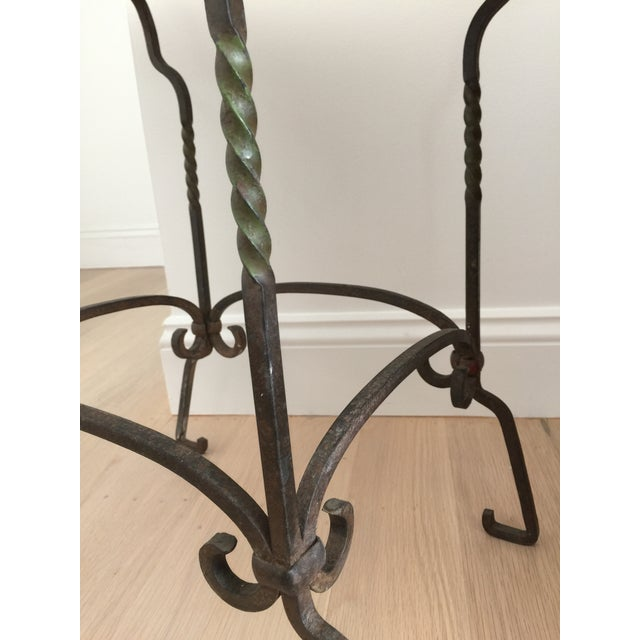 Black Cracked Mosaic Tile Top Iron Side Table - Image 6 of 8