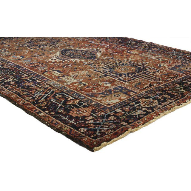 Cabin Antique Persian Heriz Rug with Medallion and Cruciform Motif For Sale - Image 3 of 4