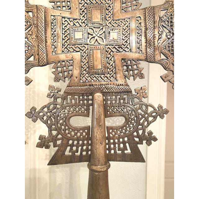 Mid 20th Century Large Ethiopian Coptic Processional Metal Cross on Black Metal Stand For Sale - Image 9 of 13