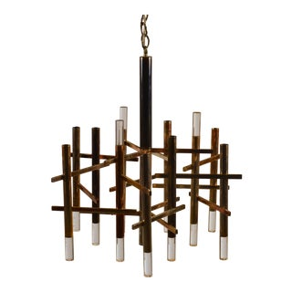 Twelve Segment Patinated Nickel and Lucite Chandelier by Gaetano Sciolari For Sale