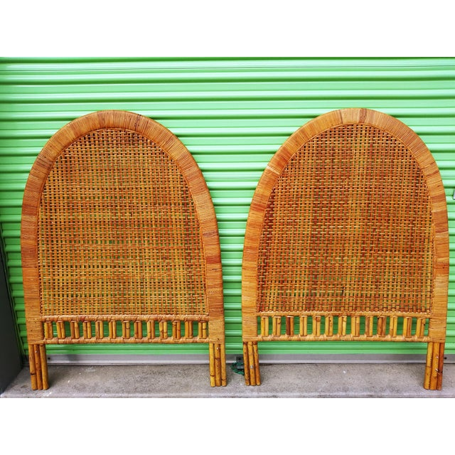 Boho Chic Handwoven Bamboo & Rattan Cane Twin Headboards - a Pair For Sale - Image 12 of 13