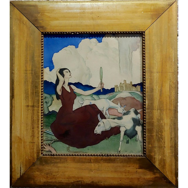 Paul Julian - Pretty Woman in a Surreal background -1930s Painting Gouache on Paper -Signed circa 1930s frame size 15 x...