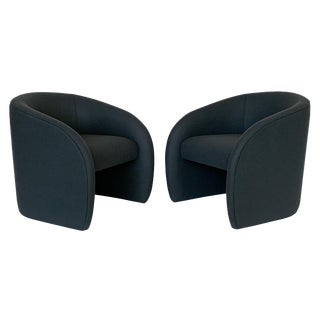 Pair of Directional Fully Upholstered Barrel Lounge Chairs For Sale