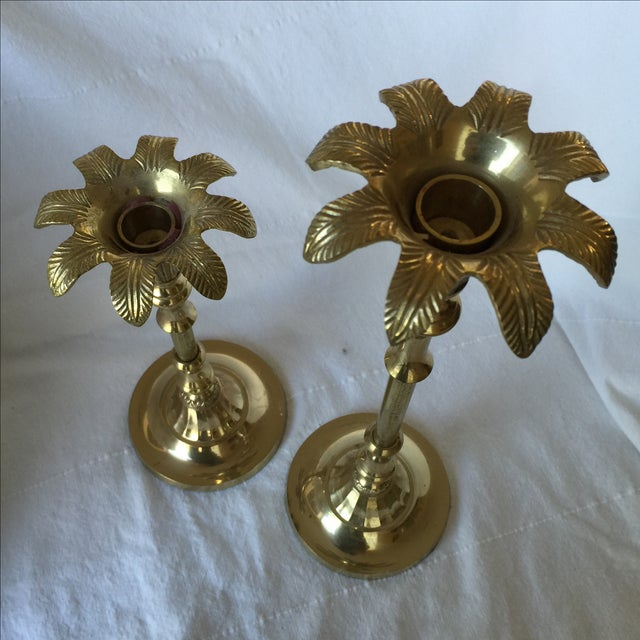 Brass Palm Tree Candle Holders - Pair - Image 9 of 9