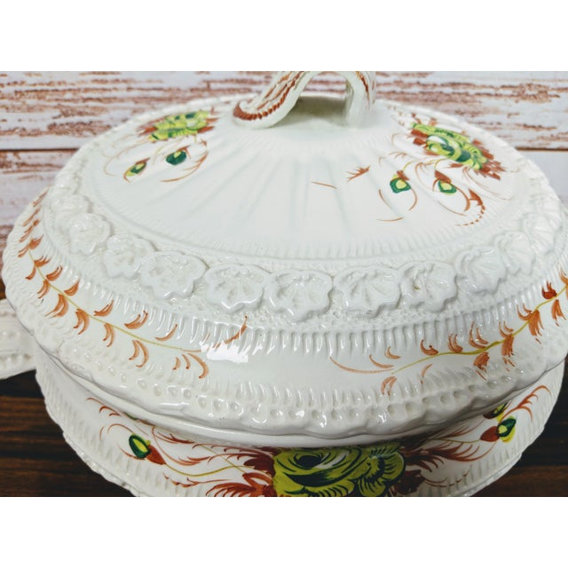 Cottage 1960s Vintage Hand-Painted Italian Soup Tureen & Spoon - 2 Pieces For Sale - Image 3 of 7