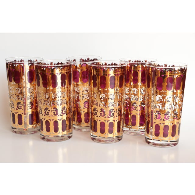 Culver Cranberry Scroll Highball and Lowball Glasses - Set of 12 - Image 3 of 9