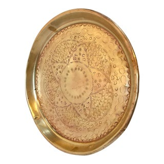 Moroccan Handcrafted Brass Round Tray For Sale