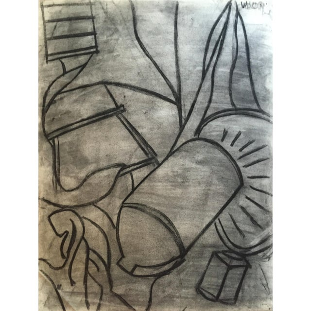 Gray 1950s Charcoal Still Life Spray Paint Signed For Sale - Image 8 of 8