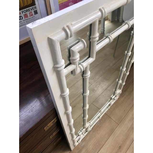 Mid 20th Century Vintage White Faux Bamboo Greek Key Wall Mirror For Sale - Image 5 of 9