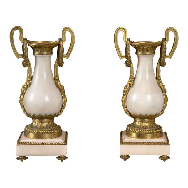 French Alabaster and Bronze Urns - A Pair For Sale