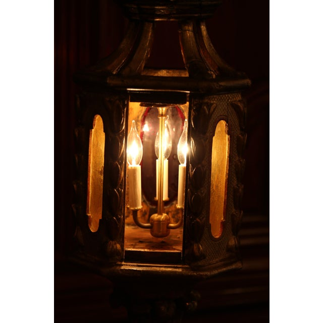18th Century Italian Carved Giltwood Three-Light Lantern With Stained Glass For Sale - Image 11 of 13