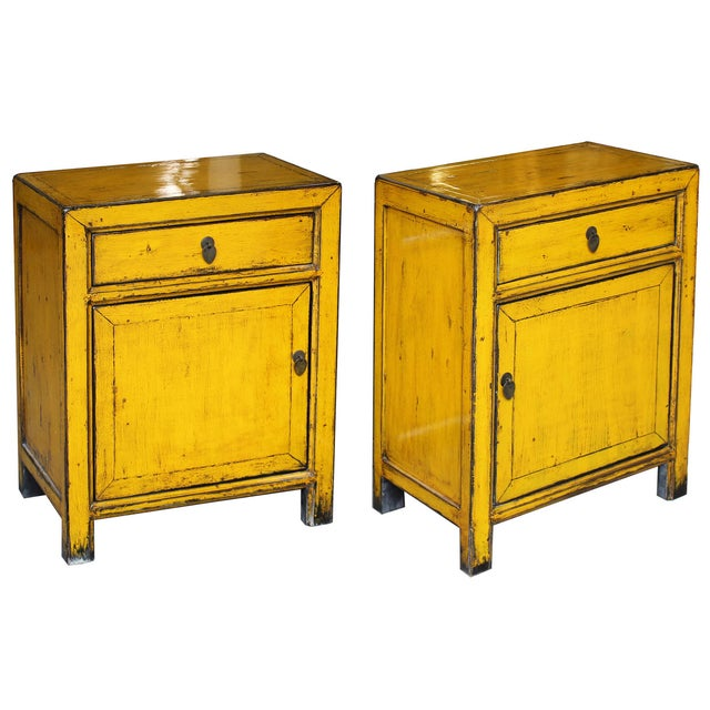 Yellow Side Chests - Pair - Image 2 of 6