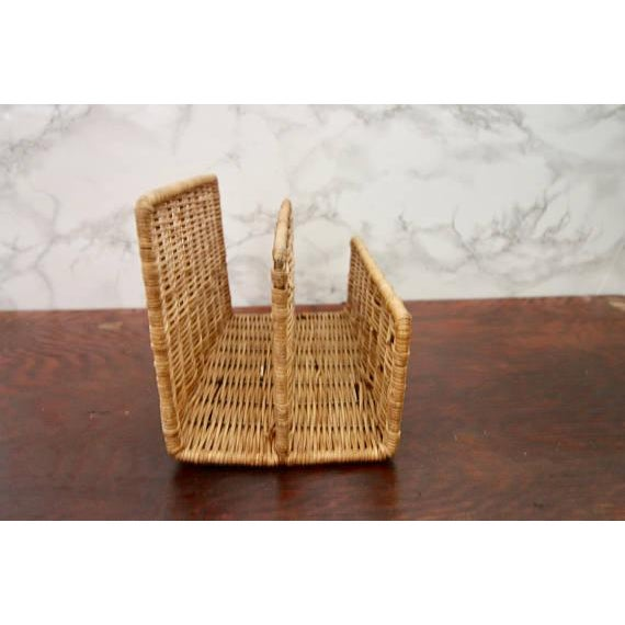 Vintage Wicker Paper Sorter Mail Organizer - Image 3 of 4