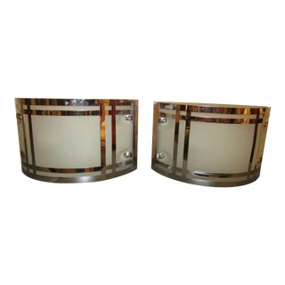 Modern Half Round Chrome and Glass Wall Sconces - a Pair For Sale