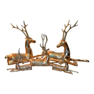 (Free Local Delivery) Mid-Century Resting Brass Reindeer Figurines - Set of 5 For Sale