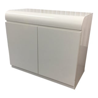 1980s Brazilian Curved Top Postmodern White Lacquer Commode For Sale