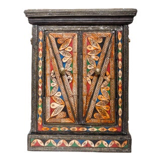 Multicolored Brass and Bone Inlaid Cabinet For Sale