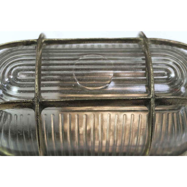Mid-Century Nautical Oval Caged Flush Mount Ship Light For Sale - Image 4 of 6