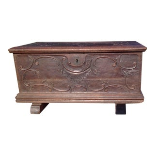 19th Century Antique Carved Oak Chest For Sale
