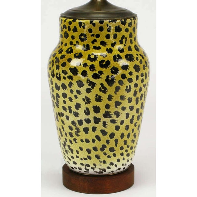 Large Italian Ceramic Leopard Glazed Table Lamp For Sale - Image 4 of 5