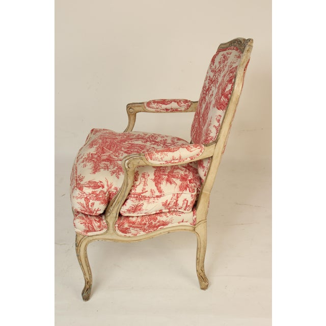 Louis XV 1930s Louis XV Provincial Painted Armchair For Sale - Image 3 of 13