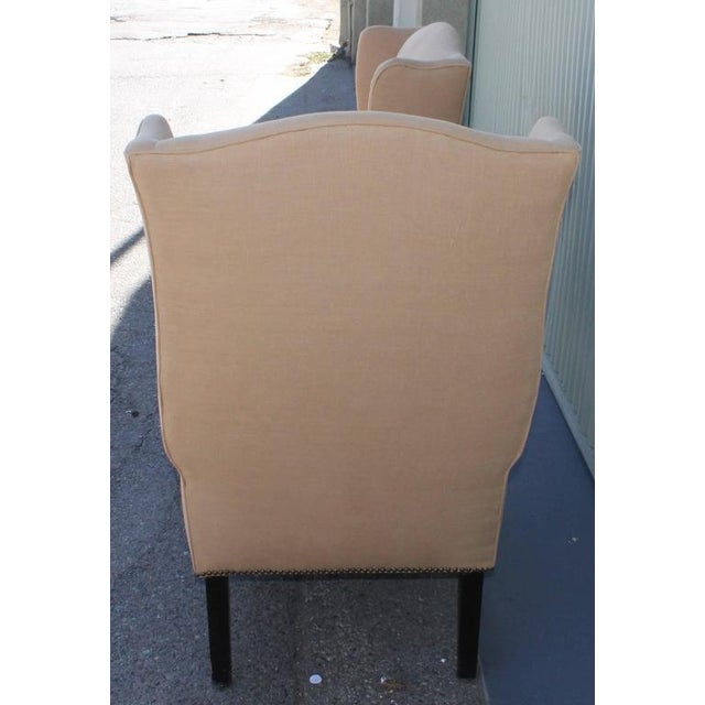 1920s Pair of Fantastic 1920s Wing Chairs in Mocha Linen For Sale - Image 5 of 7