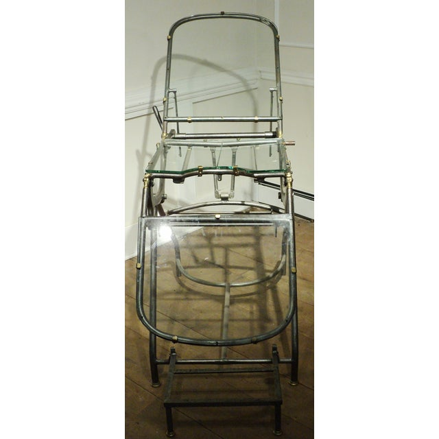 Antique Industrial Metal Glass Medical Chair Table - Image 5 of 11