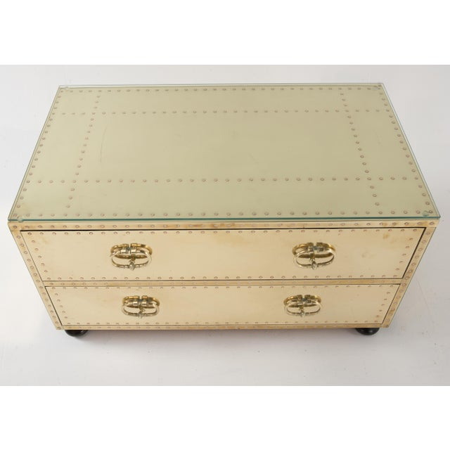 1970s Spanish Sarreid Brass Clad Two-Drawer Chest For Sale - Image 10 of 13