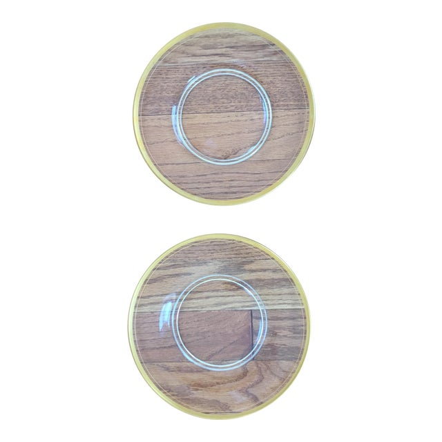 Glass Gold Rimmed Plates - A Pair - Image 1 of 6