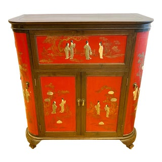 Asian Chinese Red Laquer Bar Liquor Cabinet For Sale