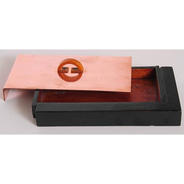 Machine Age Art Deco Asymmetric Covered Box in Copper, Catalin and Lacquer For Sale - Image 10 of 11
