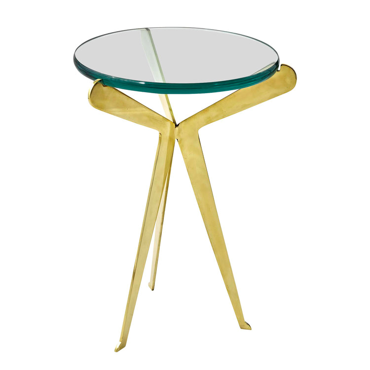Beau Diminutive Brass Side Table Or Gueridon With Three Legs And A Thick Glass  Top With Rounded