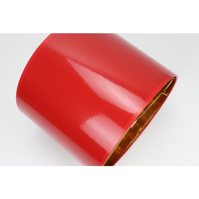 Lampshade Designs Small High Gloss Red Drum Lamp Shade With Gold Lining For Sale - Image 4 of 6