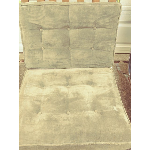 Mid Century Italian Barcelona Cloth Chairs For Sale - Image 4 of 10
