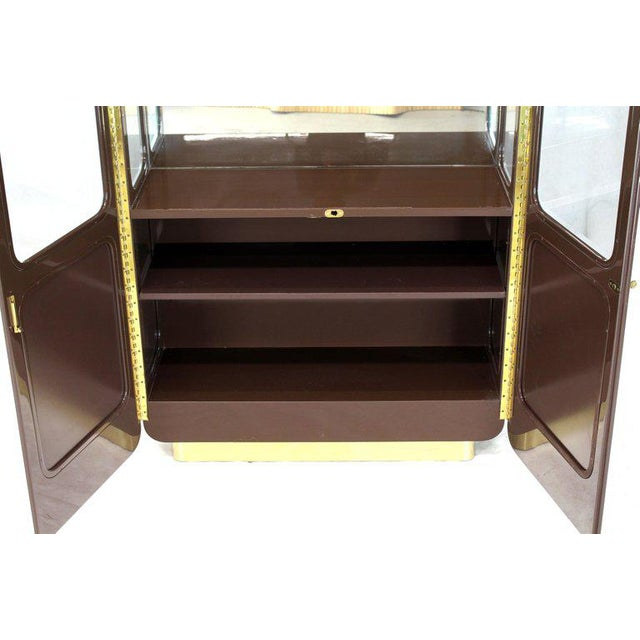 Mid-Century Modern Tall High Gloss Lacquer Finish Rounded Beveled Glass Display Cabinet Wall Unit For Sale - Image 3 of 12