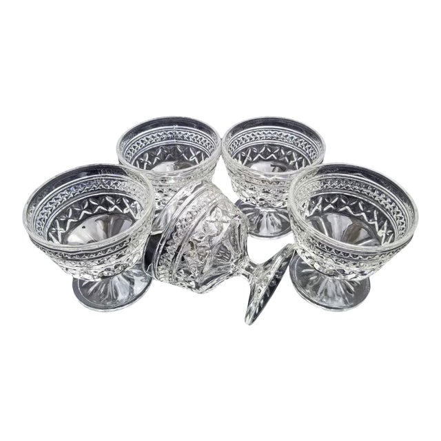 "Vintage Anchor Hocking Pressed Glass ""Wexford"" Champagne Sherbert Goblet Glasses - Set of 5 For Sale"