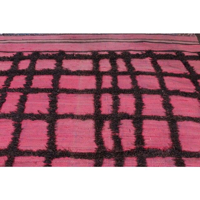 Hand Knotted Pink Geometric Moroccan Rug - 5' X 9' - Image 3 of 6