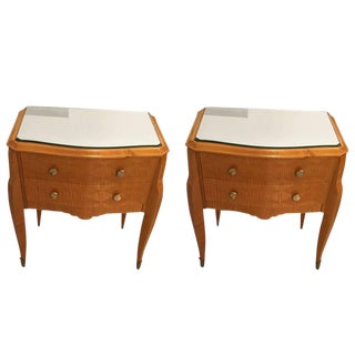 Art Deco Maple End Tables With Mirrored Tops - a Pair For Sale