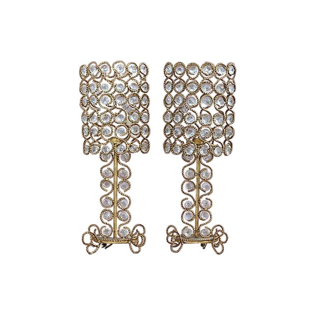 Vintage Gilt Rope-Twist & Crystal Lamps - A Pair For Sale