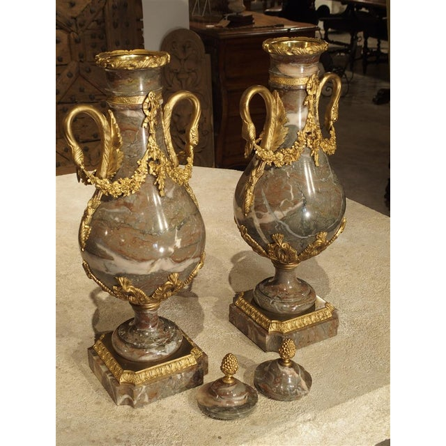 Pair of Circa 1860 Gilt Bronze and Marble Cassolettes from France For Sale - Image 9 of 11