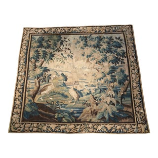 18th Century French Aubusson Verdure Tapestry With Birds in Original Border - 9′ × 9′10″ For Sale