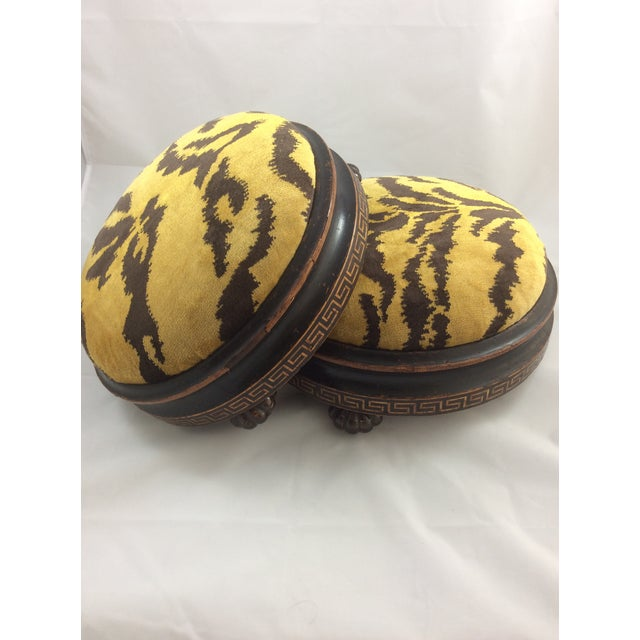 Scalamandre Le Tigre Covered Victorian Footstools - A Pair - Image 2 of 6