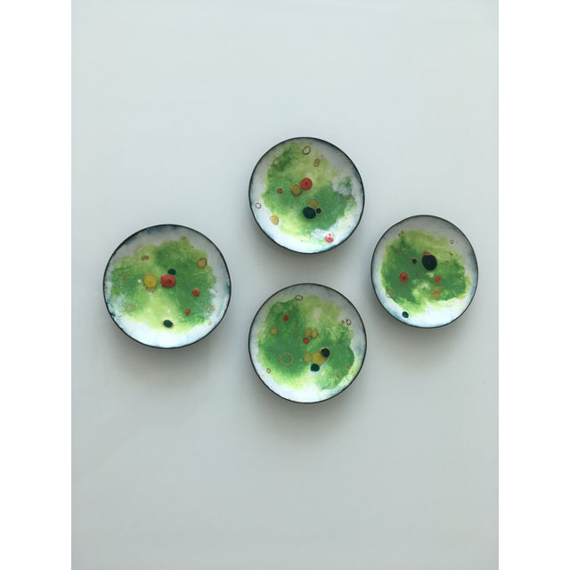 Group of handmade mid century enamel over copper shallow dishes which look wonderful on the table for serving nuts or...