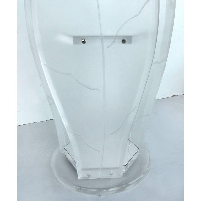 2010s Round Lucite Pedestal Table With Glass Top For Sale - Image 5 of 7