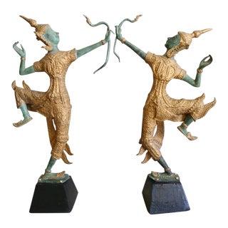 Thai Cast Bronze Dancing Deity Figures - a Pair For Sale