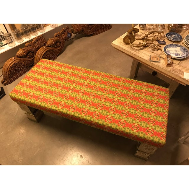 Custom Long Bench With Hand-Chased German Silver Legs and Custom Fabric For Sale - Image 4 of 9