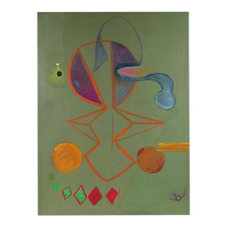Michael di Cosola Large Abstract in Sage Green, Oil on Canvas, 1971 For Sale