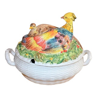 Italian Neiman Marcus Pheasant Basket Tureen For Sale