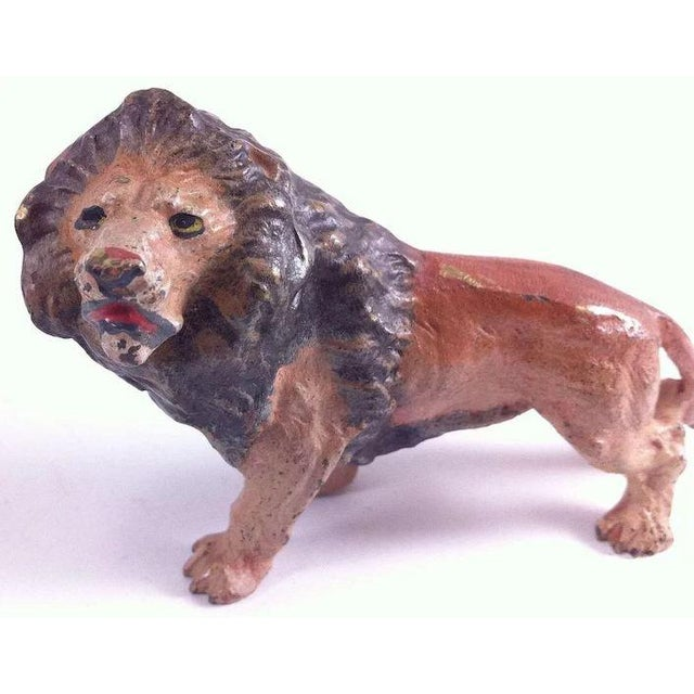 Traditional Austrian Cold Painted Bronze Lion Figure For Sale - Image 3 of 10